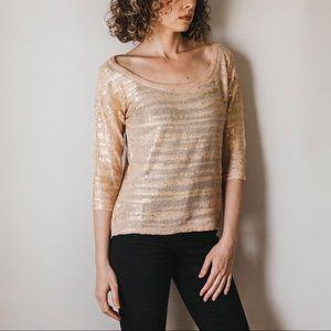 Blush Pink Boatneck Sweater w/Gold Leafing